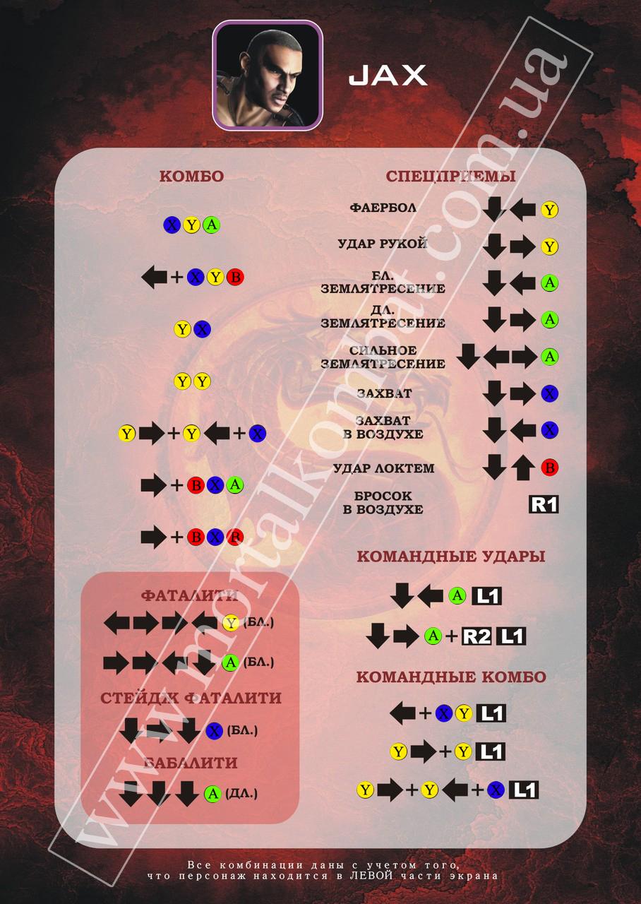 Mortal Kombat 9 (2011) Карта персонажа Jax -Xbox
